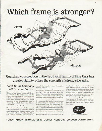 1961 ford motor company vintage ad which frame is stronger for Ford motor co parts dept
