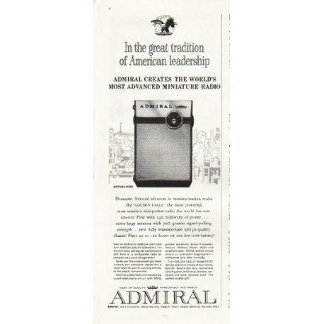 "1961 Admiral Radio Ad ""great tradition"""