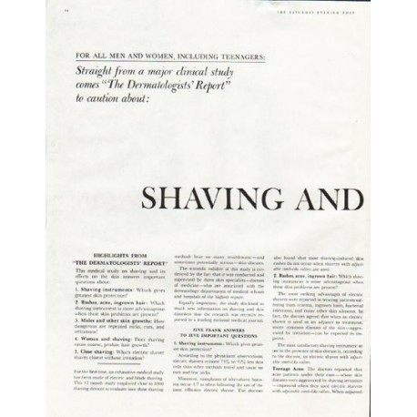 "1961 Sperry Rand Corporation Ad ""Shaving and Skin Protection"""