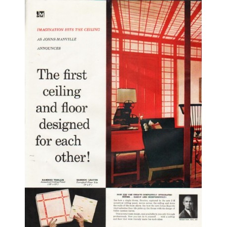 """1961 Johns-Manville Ceilings and Floors Ad """"designed for each other"""""""