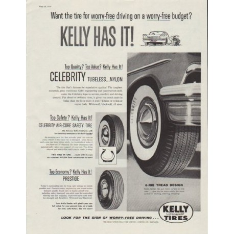 "1958 Kelly Tires Ad ""Kelly Has It!"""