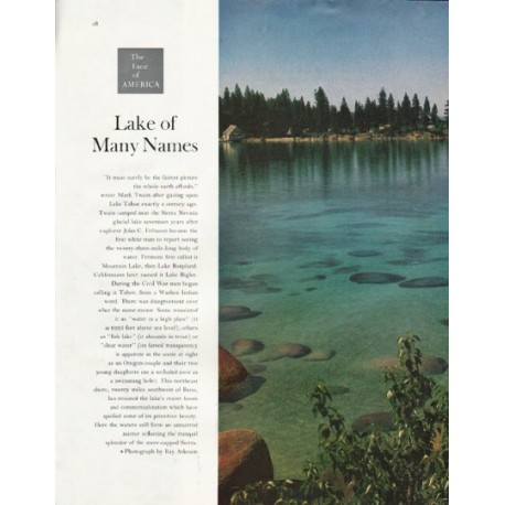 "1961 The Face of America Article ""Lake of Many Names"""