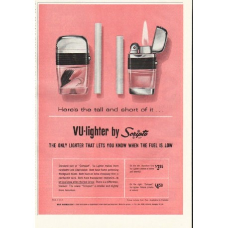 "1961 Scripto VU-lighter Ad ""tall and short of it"""