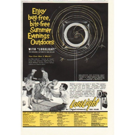 "1961 LuraLight Automatic Bug Killer Ad ""Summer Evenings"""