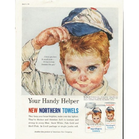 """1961 Northern Towels Ad """"So much to do"""""""
