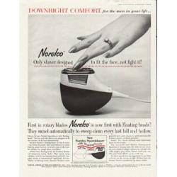 """1961 Norelco Speedshaver Ad """"Downright Comfort"""""""