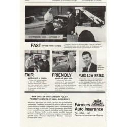 "1961 Farmers Auto Insurance Ad ""Fast - Fair - Friendly"""