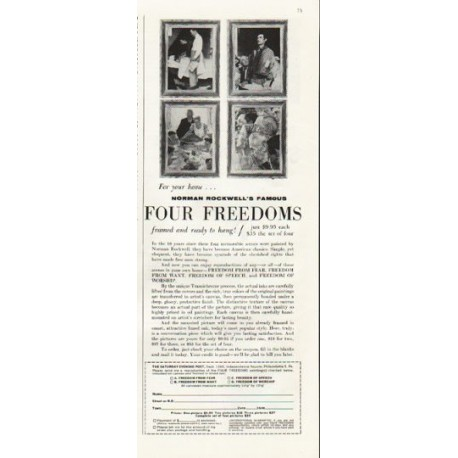 "1961 Norman Rockwell Art Prints Ad ""Four Freedoms"""