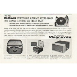 "1961 Magnavox Record Player Ad ""eliminates record and stylus wear"""