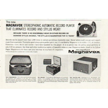 """1961 Magnavox Record Player Ad """"eliminates record and stylus wear"""""""