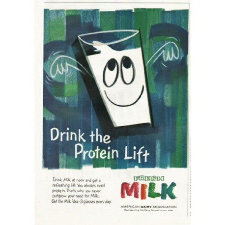 "1961 American Dairy Association Ad ""Drink the Protein Lift"""