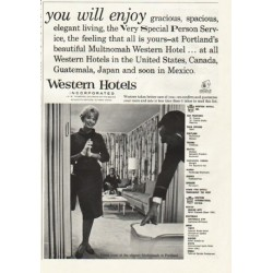 "1961 Western Hotels Ad ""you will enjoy"""