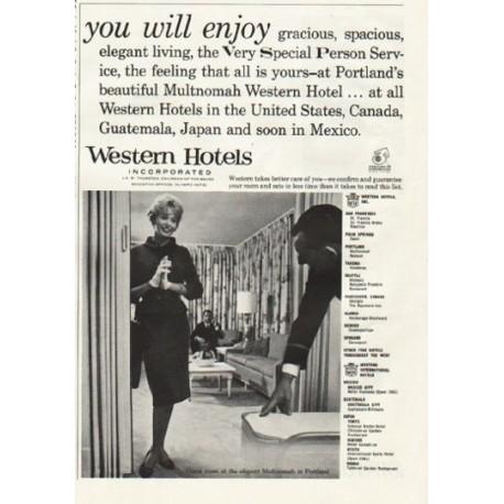 """1961 Western Hotels Ad """"you will enjoy"""""""