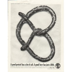"1961 Rainier Beer Ad ""A good pretzel"""