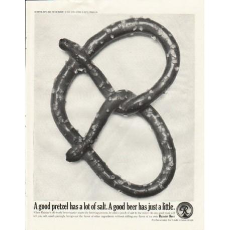 """1961 Rainier Beer Ad """"A good pretzel"""""""