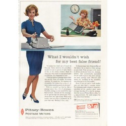"1961 Pitney-Bowes Postage Meters Ad ""What I wouldn't wish"""