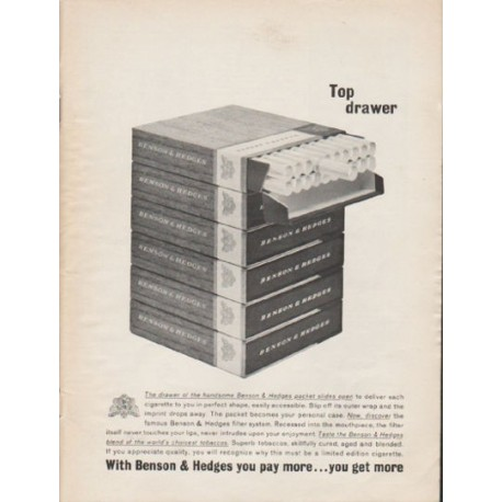"1962 Benson & Hedges Cigarettes Ad ""Top drawer"""