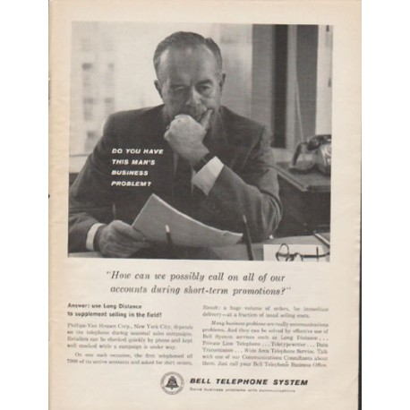 """1962 Bell Telephone System Ad """"this man's business problem"""""""