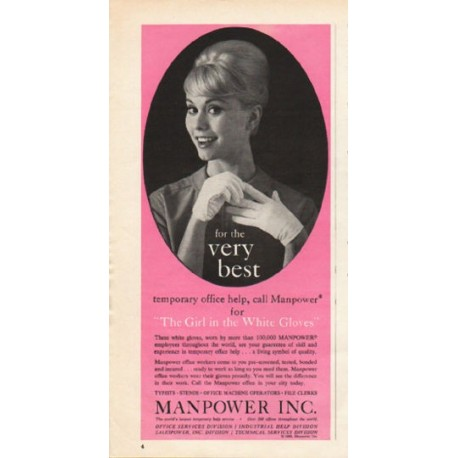 "1962 Manpower Inc. Ad ""for the very best"""
