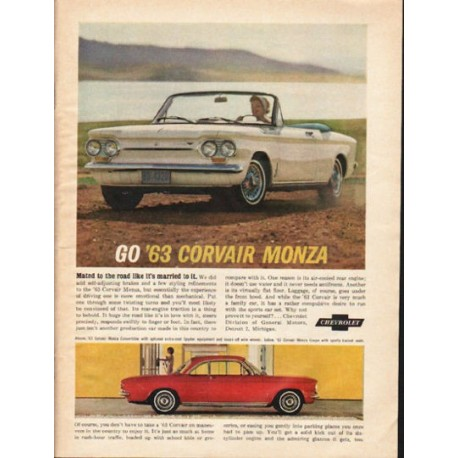 "1963 Chevrolet Corvair Monza Ad ""Mated to the road"" ~ (model year 1963)"