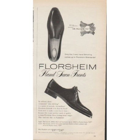 "1962 Florsheim Shoe Company Ad ""Hand Sewn Fronts"""