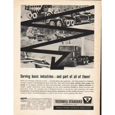 "1962 Rockwell-Standard Corporation Ad ""Serving basic industries"""