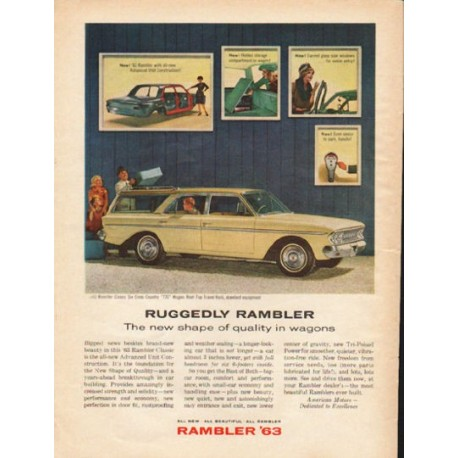 "1963 Rambler Classic Six ""770"" Wagon Ad ""Ruggedly Rambler"" ~ (model year 1963)"