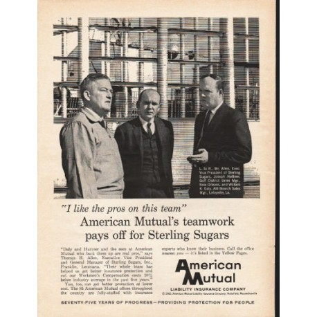 "1962 American Mutual Liability Insurance Company Ad ""the pros"""