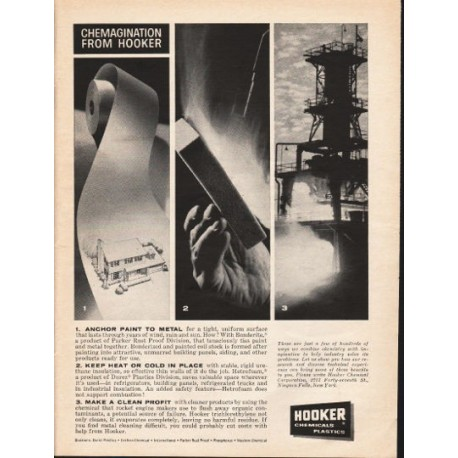 "1962 Hooker Chemical & Plastics Ad ""Chemagination from Hooker"""