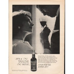 "1962 Taylor New York State Port Wine Ad ""Evening firelight"""
