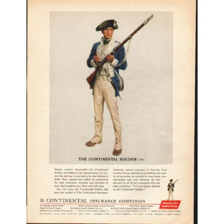 """1962 America Fore Loyalty Group Ad """"The Continental Soldier"""""""