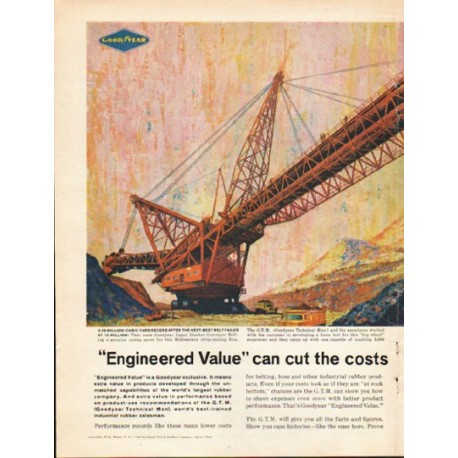 """1962 Goodyear Industrial Products Ad """"Engineered Value"""""""