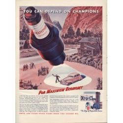 "1938 Champion Spark Plugs Ad ""Max Economy"""