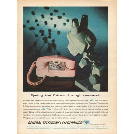 """1962 General Telephone & Electronics Ad """"Eyeing the future"""""""