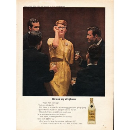 "1962 Seagram's Extra Dry Gin Ad ""She has a way"""