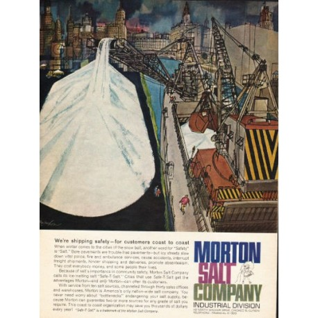 """1962 Morton Salt Company Ad """"We're shipping safety"""""""
