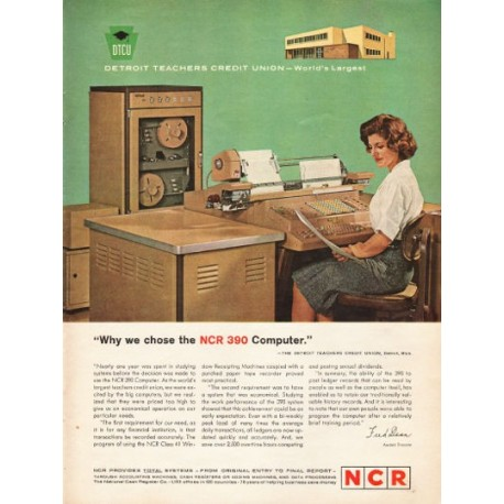 "1962 NCR 390 Computer Ad ""Detroit Teachers Credit Union"""