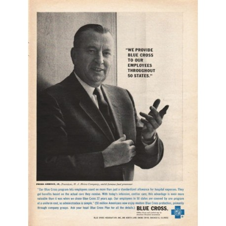 "1962 Blue Cross Ad ""We provide Blue Cross to our employees"""