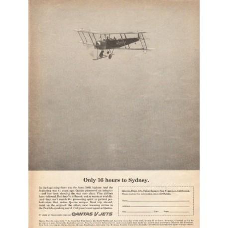 "1962 Qantas V Jets Ad ""16 hours"""
