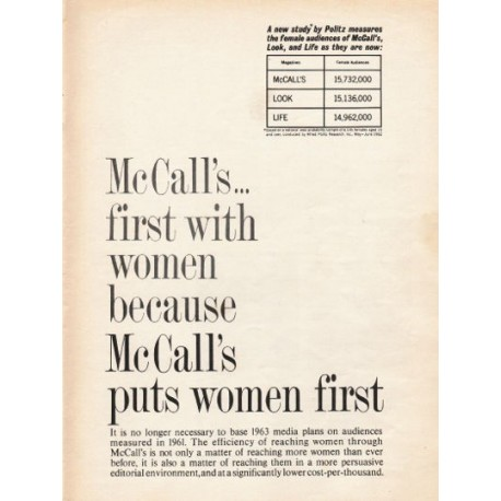 "1962 McCall's Magazine Ad ""first with women"""