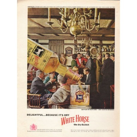 """1962 White Horse Dry Scotch Ad """"because it's dry"""""""