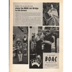 "1962 British Overseas Airways Corporation Ad ""along the BOAC Jet Bridge"""