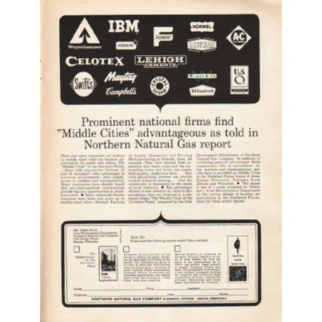 "1962 Northern Natural Gas Company Ad ""Prominent national firms"""