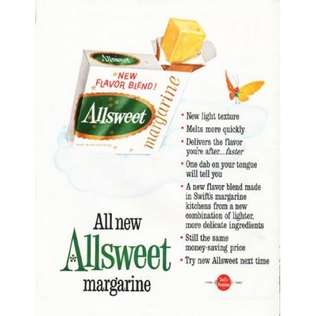 "1962 Allsweet Margarine Ad ""New light texture"""