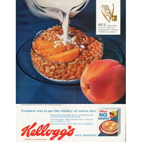 "1962 Kellogg's Rice Krispies Ad ""get the vitality"""
