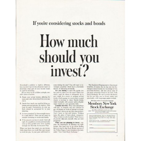 "1962 Members New York Stock Exchange Ad ""How much"""