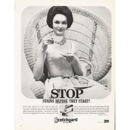 """1962 Scotchgard Stain Repeller Ad """"before they start"""""""