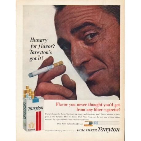 "1962 Tareyton Cigarettes Ad ""Hungry for flavor"""