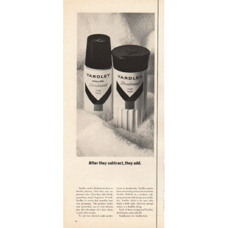 "1962 Yardley Deodorant Ad ""After they subtract"""