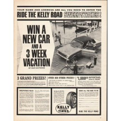 "1962 Kelly-Springfield Tires Ad ""Ride the Kelly Road"""